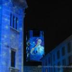Torre del Broletto a Como illuminata